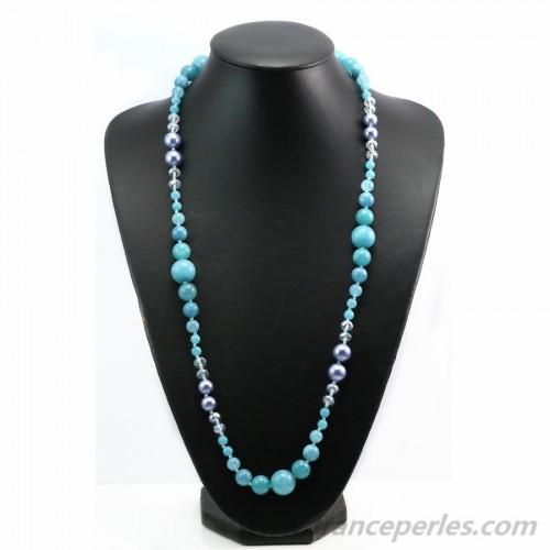 Degrade thinted quartz nacklace 100cm