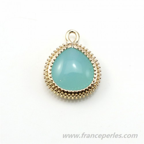 Drop-shape turquoise glass set in golden metal  artifactitious 16x19mm x 1pc