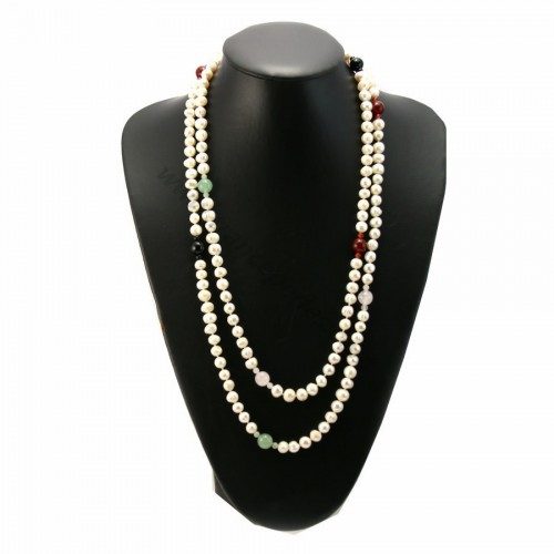 Long necklace pearls of fresh water agate and avanturine 140cm