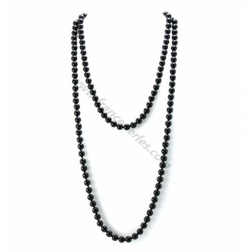 Long necklace agate round black 8mm 140cm