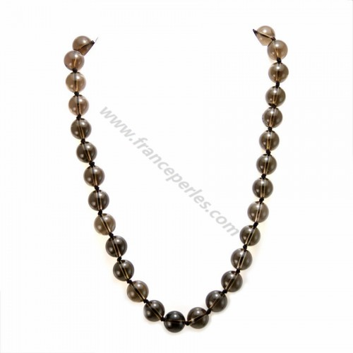 Necklace Simple round smoked quartz 12mm
