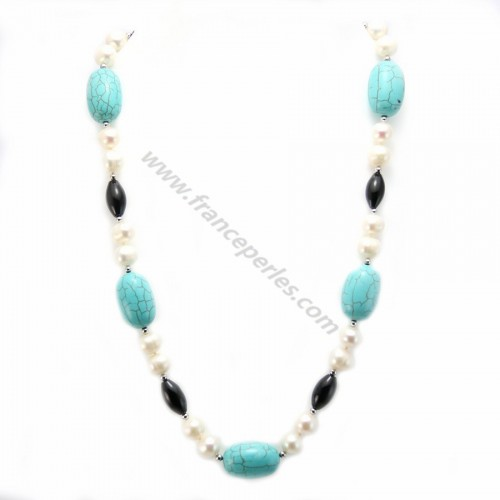 Necklace in cultured pearls of fresh water agate black and turquoise blue reconstituted