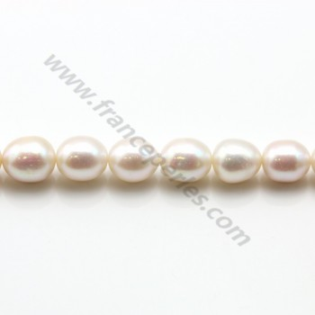 White drop-shape freshwater pearls on thread 9-13mm x 40cm