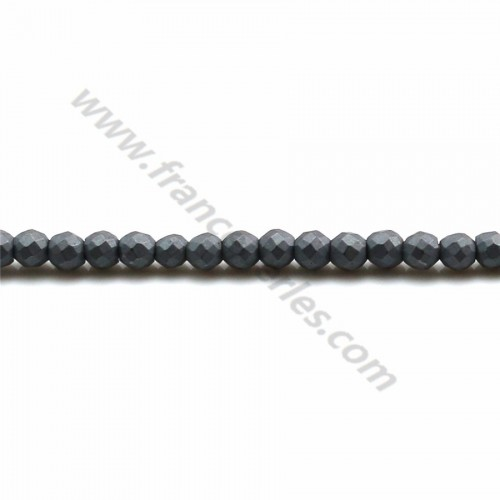 Hematite matte faceted round 2mm x 40 cm