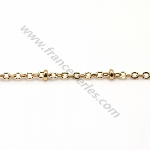 Chaîne maille fantaisie boule flash or 1.5*2mm x 1M
