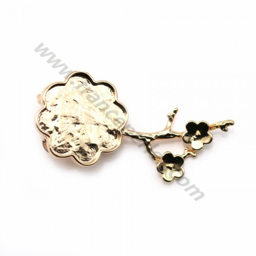 Flash gold-plated pendant brooch square 34mm x 1pc