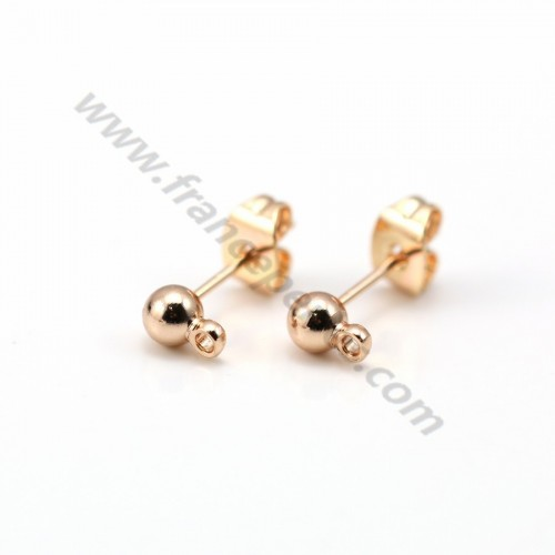 Flash gold rose plated ball-shape ear studs 4mm x 2pcs