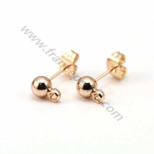 Flash gold plated ball-shape ear studs 5mm x 2pcs