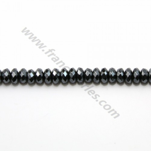 Hematite faceted flatened round beads 2x4mm x 10pcs