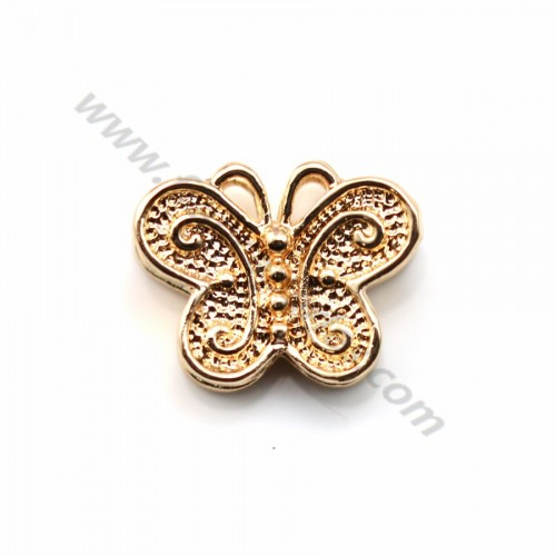 "Pendant openwork flower plated ""flash"" gold brass  x 4pcs"