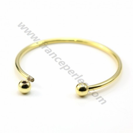 """Jonc bracelet for half-driled beads 60mm plated by """"flash"""" gold on brass x 1pc"""