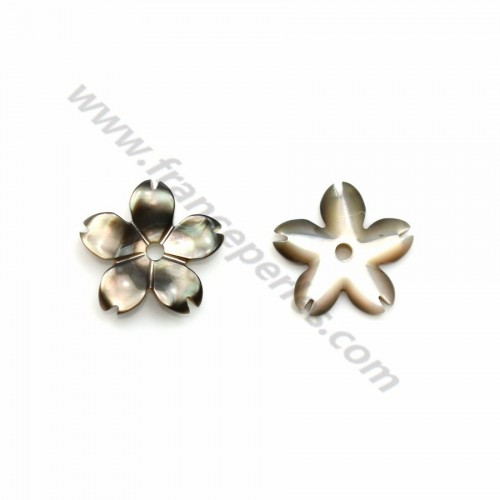 Gray mother-of-pearl 5 petal flower 8mm x 1pc
