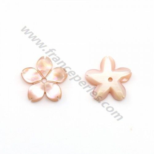 Pink mother-of-pearl 5 petal flower 10mm x 1pc