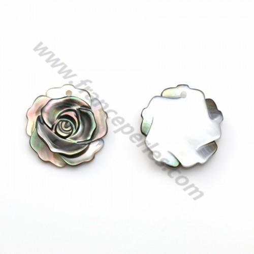 Gray mother-of-pearl rose 15mm x 1pc