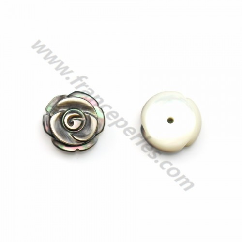 Gray mother-of-pearl half drilled rose 10mm x 2pcs