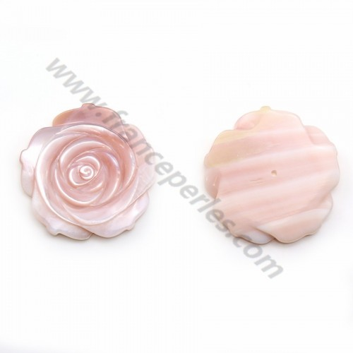 Pink mother-of-pearl half drilled rose 30mm x 1pc