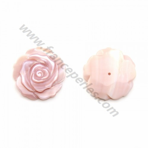 Pink mother-of-pearl half drilled rose 20mm x 1pc