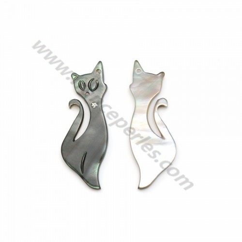 Grey mother-of-pearl in a cat shape with a cubic zirconia 9x25 mm x 1pc