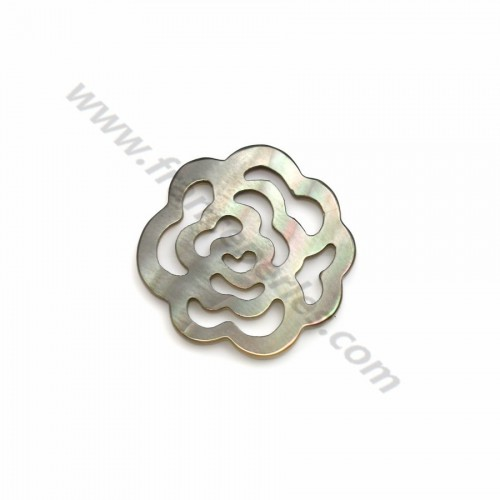 Gray mother-of-pearl flower with openwork 14mm x 1pc