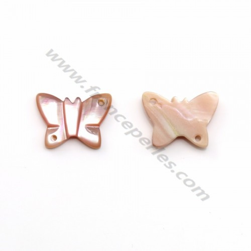 Nacre rose en forme de papillon 9x12mm x 1pc