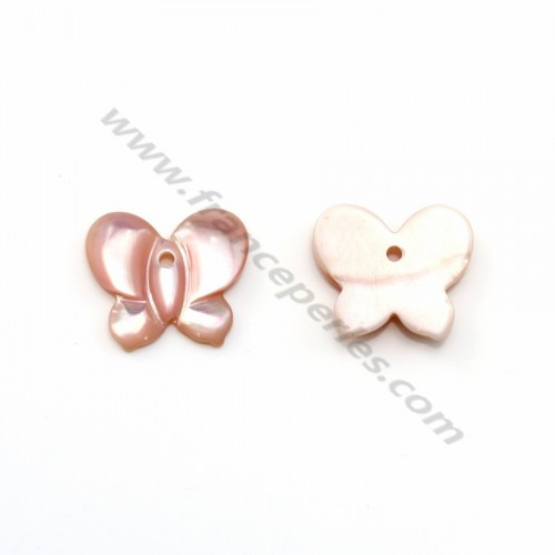 Pink mother-of-pearl in butterfly shape 10x12mm x 1pc