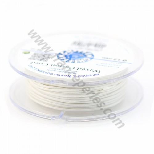 White waxed cotton cords 1.0mm x 20m