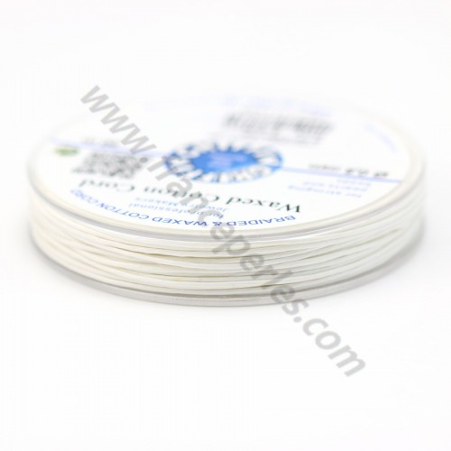 White waxed cotton cords 0.8mm x 20m