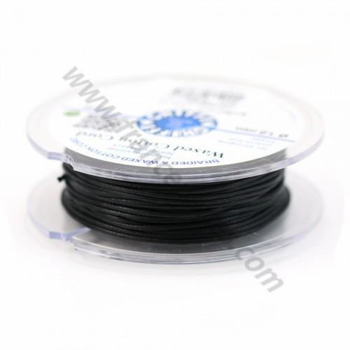 Noir waxed cotton cords 1.0mm x 20m