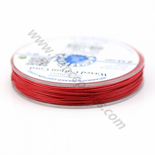 Red waxed cotton cords 0.8mm x 20m