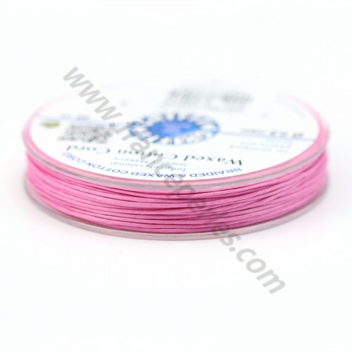 Pink waxed cotton cords 0.8mm x 20m