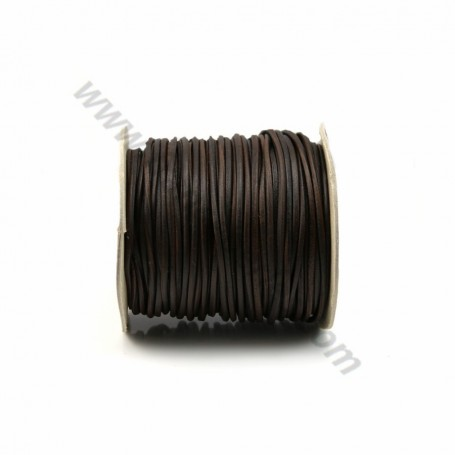 Black rounded buffalo leather cord 2.5mm x 1m