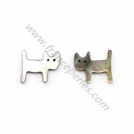 Gray mother-of-pearl cat 12x14mm x 1pc