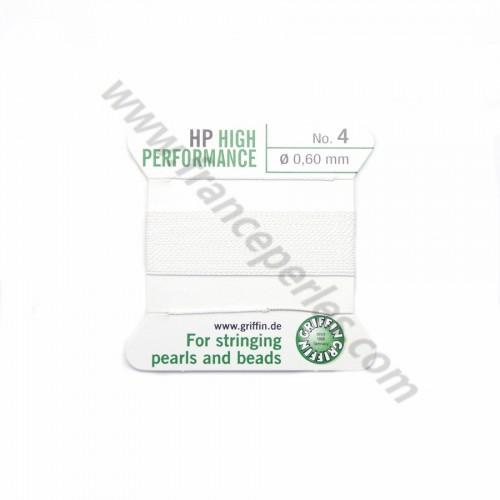 Fil haute performance blanc 0.45mm attaché à une aiguille x 2m