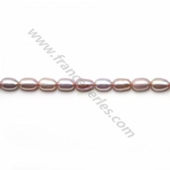 Pinkish oval freshwater pearls on thread 4-5mm x 40cm