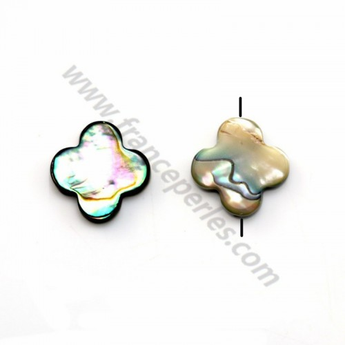 Abalone mother-of-pearl clover beads 13mm x 1pc