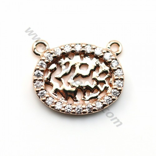 "Veneer openwork oval pendant with oxides of zirconium, by ""flash"" Gold on brass 11x14mm x 1pc"