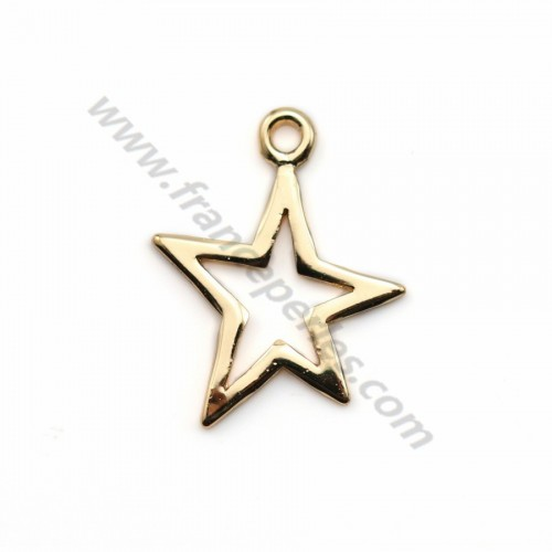 "Charm star by ""flash"" gold on brass 11*14mm x 4pcs"