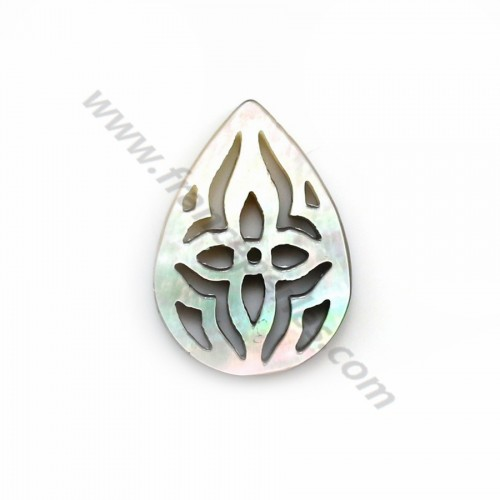 Gray mother-of-pearl in drop shape with openwork 10x14mm x 1pc