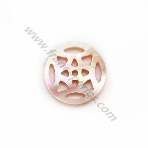Openwork medallion mother of pearl pink rosette 12mm x 1pc