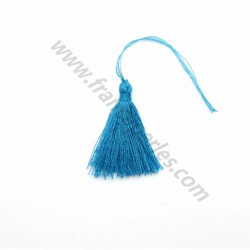 Pompon en coton bleu 30mm x 1pc