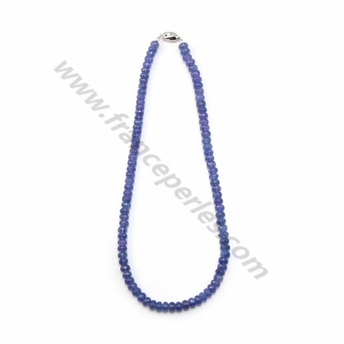 Collier tanzanite rondelle facette x 45cm