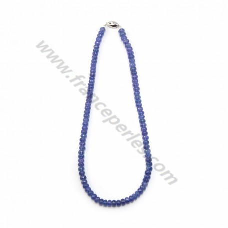 Necklace tanzanite degraded faceted washer 7.90*5.10mm x 45cm