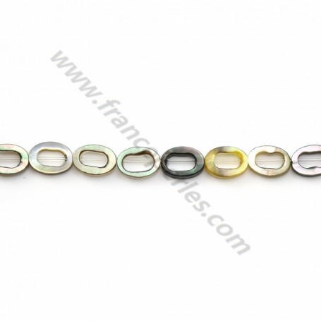 Gray mother-of-pearl hollowed oval beads on thread 4x6mm x 40cm