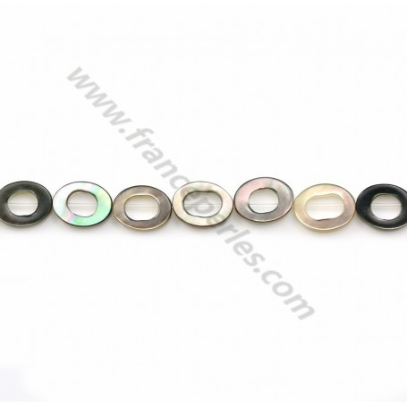 Gray mother-of-pearl hollowed oval beads on thread 6x8mm x 40cm