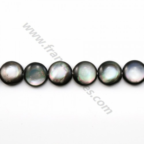 Gray mother-of-pearl bulged round beads on thread 10mm x 40cm