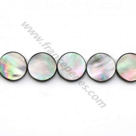 Gray mother-of-pearl flat round beads on thread 12mm x 40cm