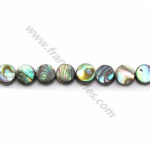 Abalone mother-of-pearl flat round beads on thread 6mm x 40cm
