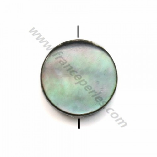 Gray mother-of-pearl flat round beads 8mm x 20 pcs