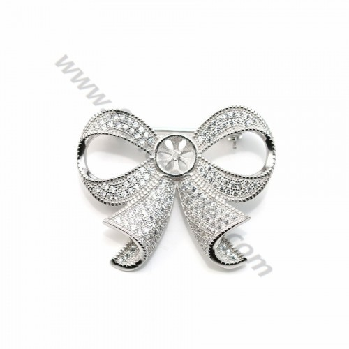 925 silver and zirconium bow shaped brooch 30*37mm x 1pc
