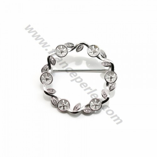 925 silver and zirconium crown shaped brooch for half drilled pearls 38mm x 1pc